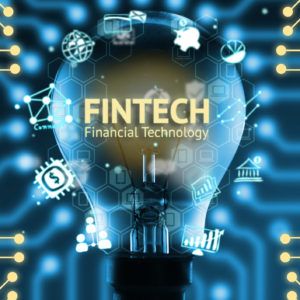 Fintech concept . Icons of financial technology and bank . Light bulb , Infographic , texts and icons. Electric circuits graphic with blue background